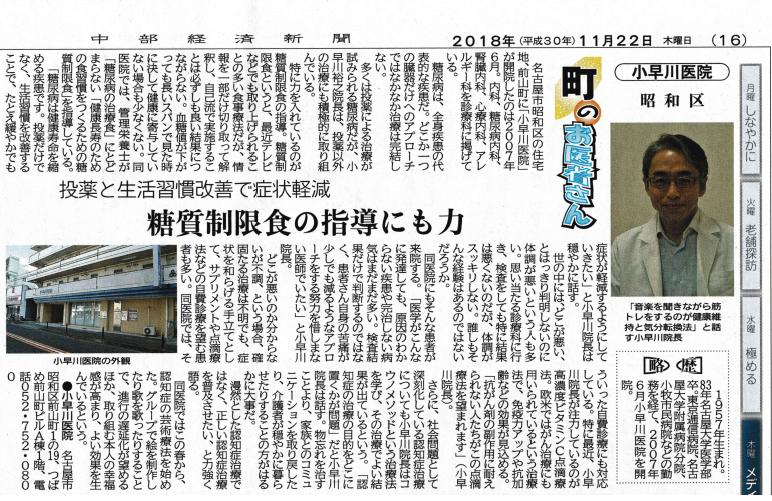 小早川医院、中部経済新聞、糖質制限、芸術療法